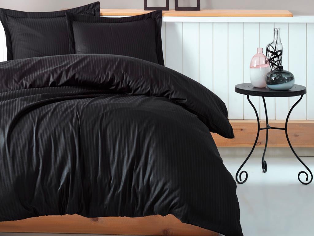 طقم غطاء لحاف من القطن الساتان الأسود ، صندوق قطني مخطط ، شخصية مزدوجة