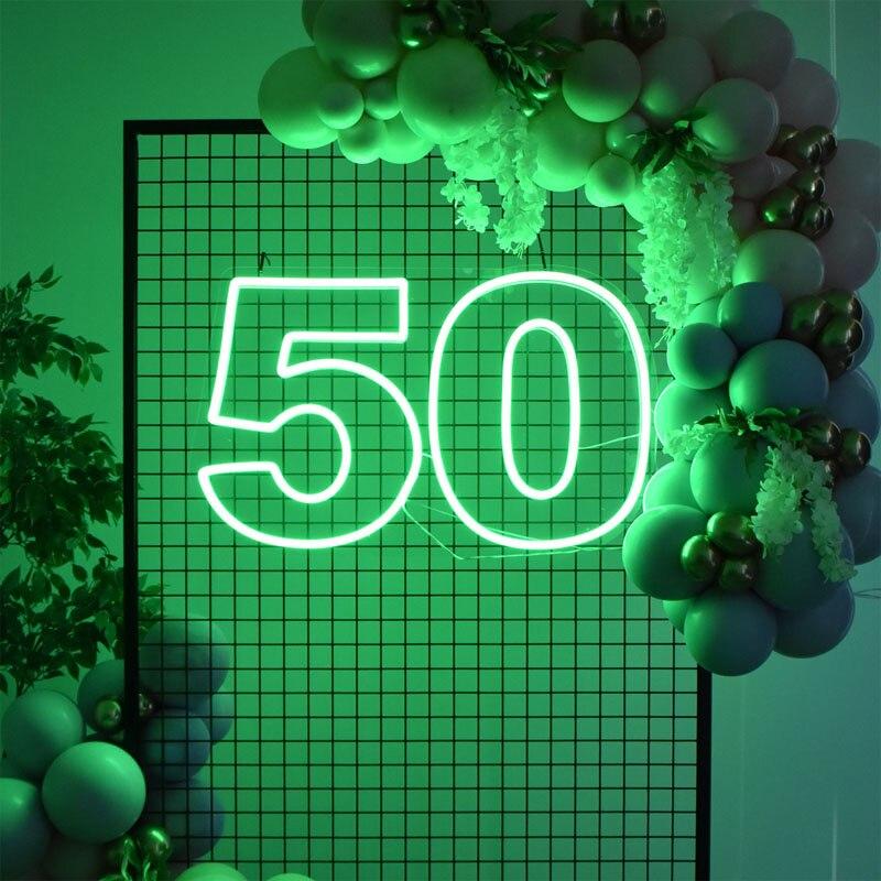 OHANEONK مخصص بنك الاحتياطي الفيدرالي 50 خمسين عيد ميلاد سعيد مرنة ضوء النيون تسجيل الديكور شريط المنزل جدار غرفة نوم ديكور حفلة باردة
