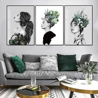 modern minimalist maiden canvas painting nordic portrait beauty woman poster plant prints picture for living room wall art