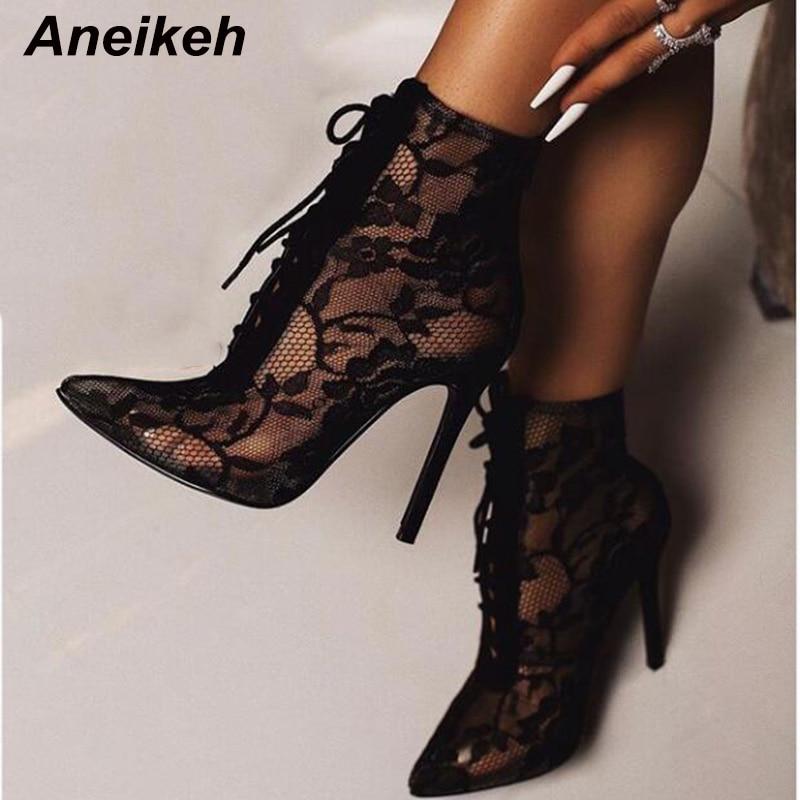 Aneikeh شبكة سوداء الأحذية النسائية موضة أشار تو الدانتيل متابعة عالية الكعب النساء شفافة حذاء من الجلد الصنادل الإناث مضخات فستان