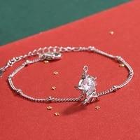 2022 christmas gift sika deer bracelet for women girl cute trendy animal zirconia snowflake bracelet handmade charms jewelry