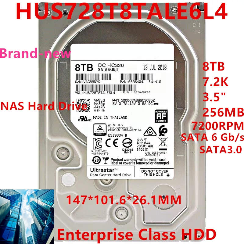 """New HDD For WD Brand 8TB 7.2K 3.5"""" SATA 6 Gb/s 256MB 7200RPM For Internal Hard Disk For NAS EnterpriseHDD For HUS728T8TALE6L4"""