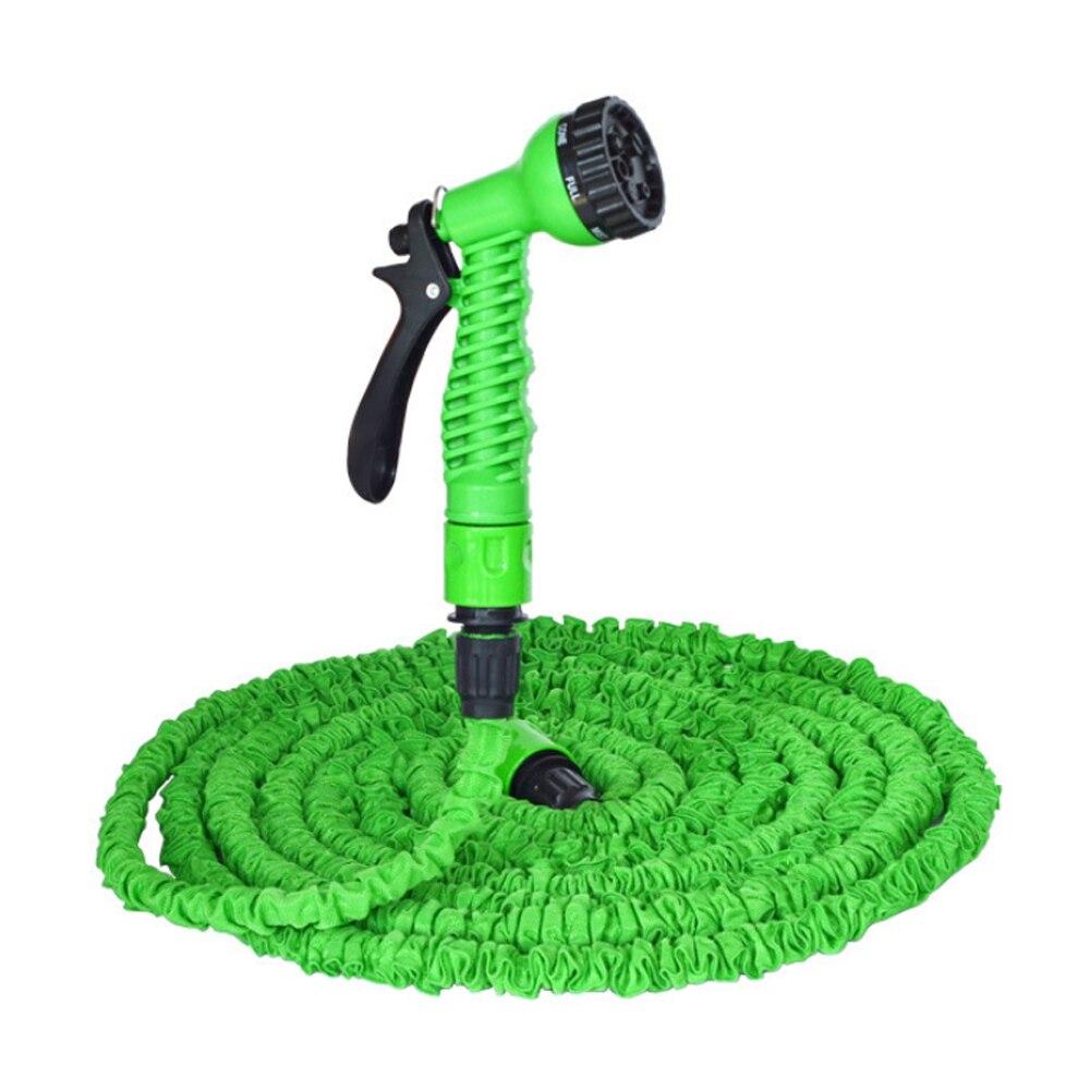 Manguera de jardín de 25 pies, manguera de agua Flexible mágica extensible, tubo de mangueras de plástico con PISTOLA DE PULVERIZACIÓN para riego, coche, lavado con Spray verde