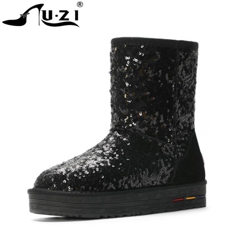 Botas de nieve de tela de lentejuelas clásicas de estilo australiano, botas de invierno gruesas de invierno de alta calidad para mujer, botas de tobillo calientes de felpa Dropshipping