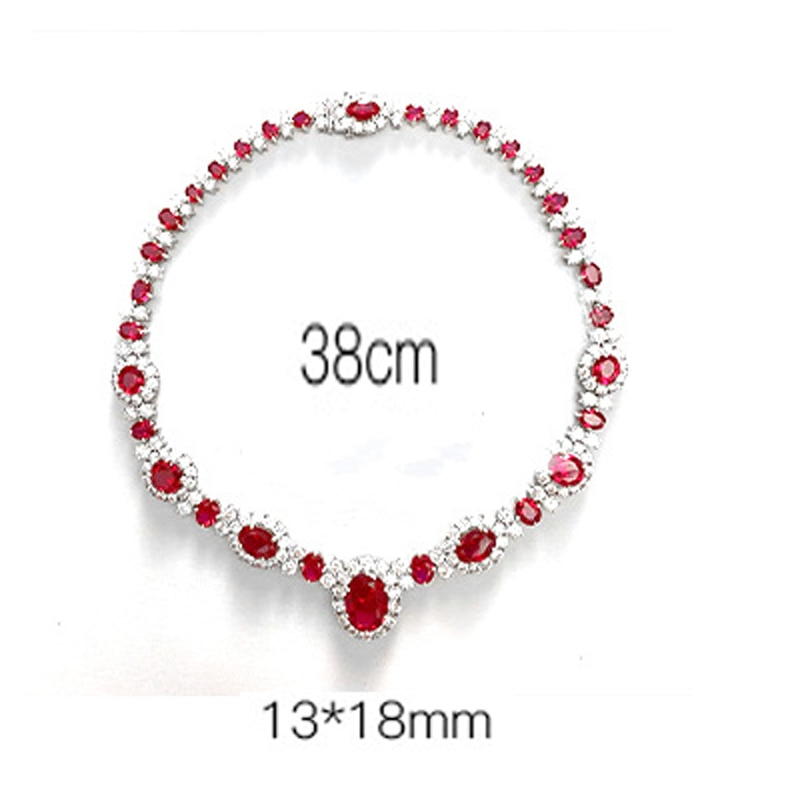 Knobspin 13*18MM New Noble Luxury Cultivates Ruby Pendant Full Diamons 925 Sterling Silver Necklace Fine Jewelry Woman Girl Gift