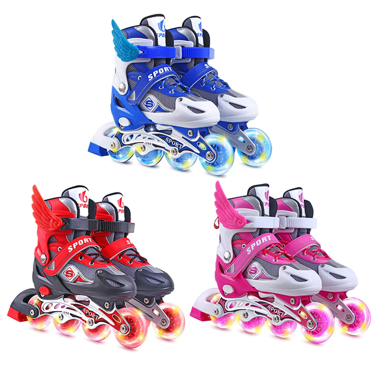 Inline Skates Children Roller Skating Shoes Sneakers With Luminous High Elastic PU Wheel Flash Wheels Wonderful Gift For Kids