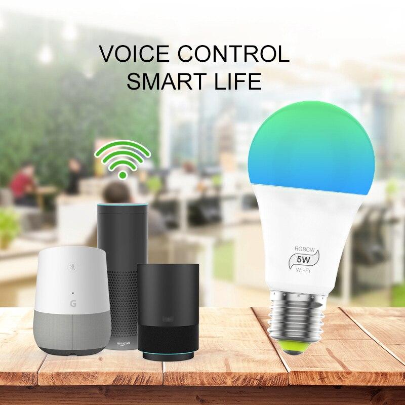 Bombilla de luz WiFi inteligente de 5W E27/B22/E14/RGBW GU10, Bombilla de Control remoto WiFi inalámbrica regulable, lámpara de luz para el hogar Google Alexa de Echo