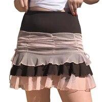 2021 new womens ruched bodycon mini skirt high waist mesh patchwork layered ruffle hem short skirt