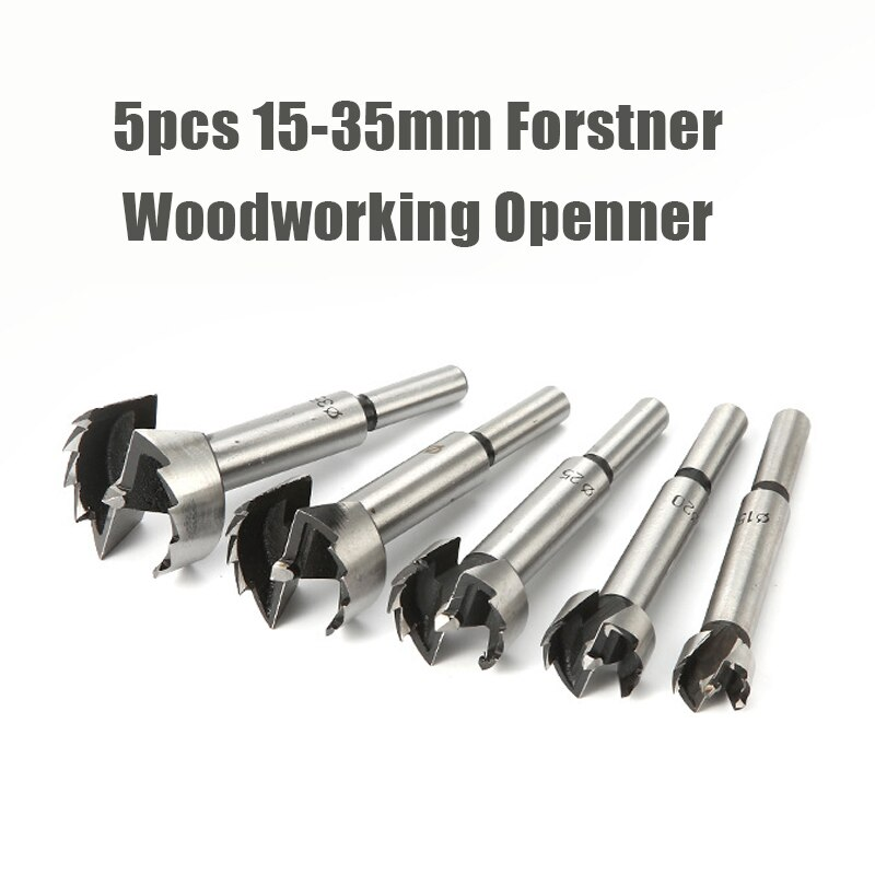 5Pcs Set 15 20 25 30 35mm Multi-tooth Forstner Boring Drill Bits Kit Woodworking Self Centering Hole Saw Wood Cutter Tools Set