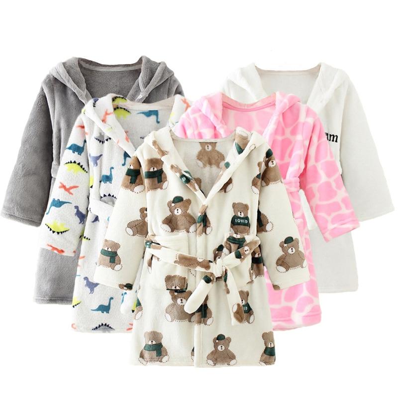 Boys and girls Flannel pajamas robe Autumn and winter Children bathrobe soft comfortable Kids baby c
