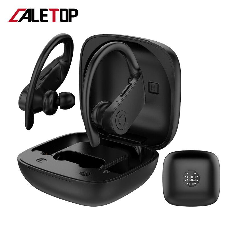 Caletop, auriculares inalámbricos Supergraves para correr, tecnología TWS, auriculares deportivos con gancho en la oreja, auriculares con carga inalámbrica, PK B10