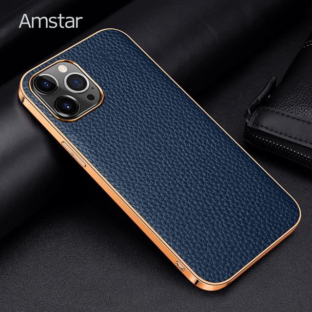 Чехол Amstar из натуральной воловьей кожи для телефона iPhone 12, 11 Pro Max, 12 Mini, X, XR, XS Max, полностью закрытый чехол с золотистой рамкой