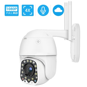 HD 1080P Wifi Camera 4X Digital Zoom Mini PTZ Camera Auto Tracking  Waterproof Outdoor Siren Light YCC365 Surveillance IP Camera