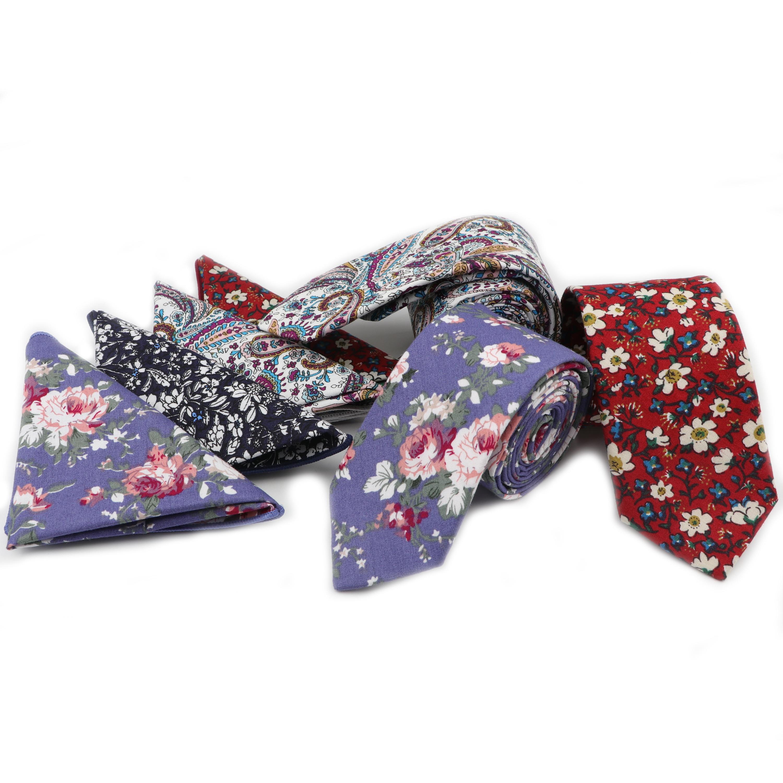 Conjunto de corbata estrecha Rosa Hankerchief 100% textil de algodón corbatas bolsillo cuadrado estampado de flores corbata flaca clásica 2 uds