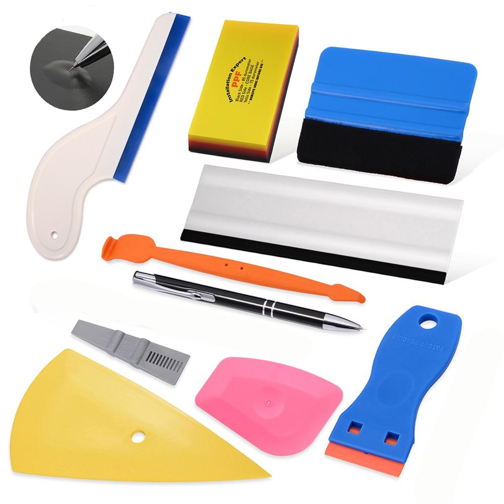 EHDIS Carbon Fiber Covering Film Vinyl Wrap Car Tools Kit Car Stickers Magnet Squeegee Air Remove Pen Auto Styling Tools Set