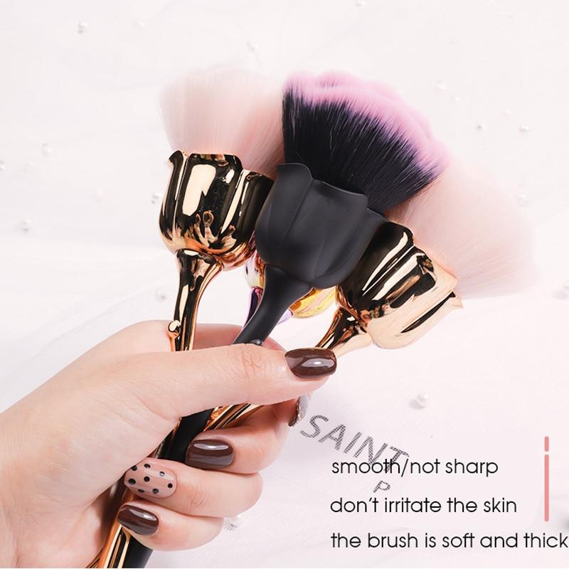 Arte de uñas Rosa grande polvo cepillo de limpieza cepillo de cabeza grande cepillo de uñas profesional herramienta grande de microfibra suave pelo de lana