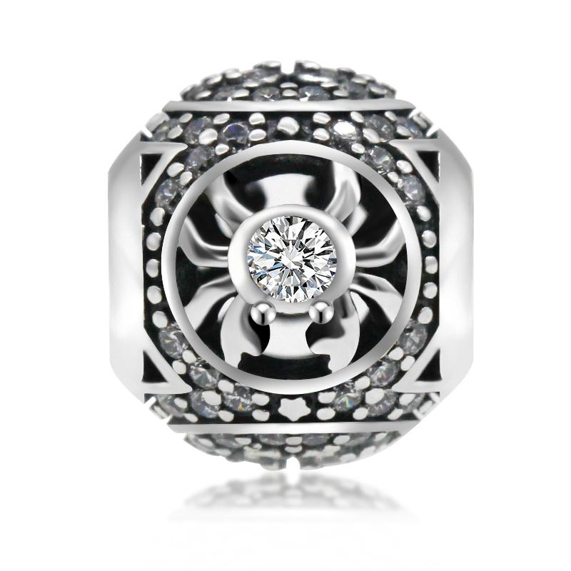 925 Sterling Silver Cancer Star Sign Zodiac Beads Vintage Charms fit Pandora Bracelets DIY Twelve Constellation