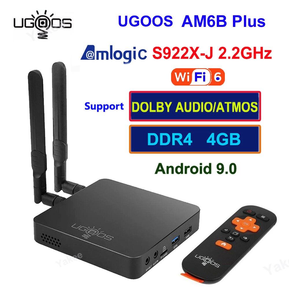 UGOOS AM6B Plus تي في بوكس أندرويد 9.0 Amlogic S922X-J 4GB 32GB 2.4G 5G ثنائي واي فاي BT 5.0 4K HD مشغل الوسائط صوت عن بعد