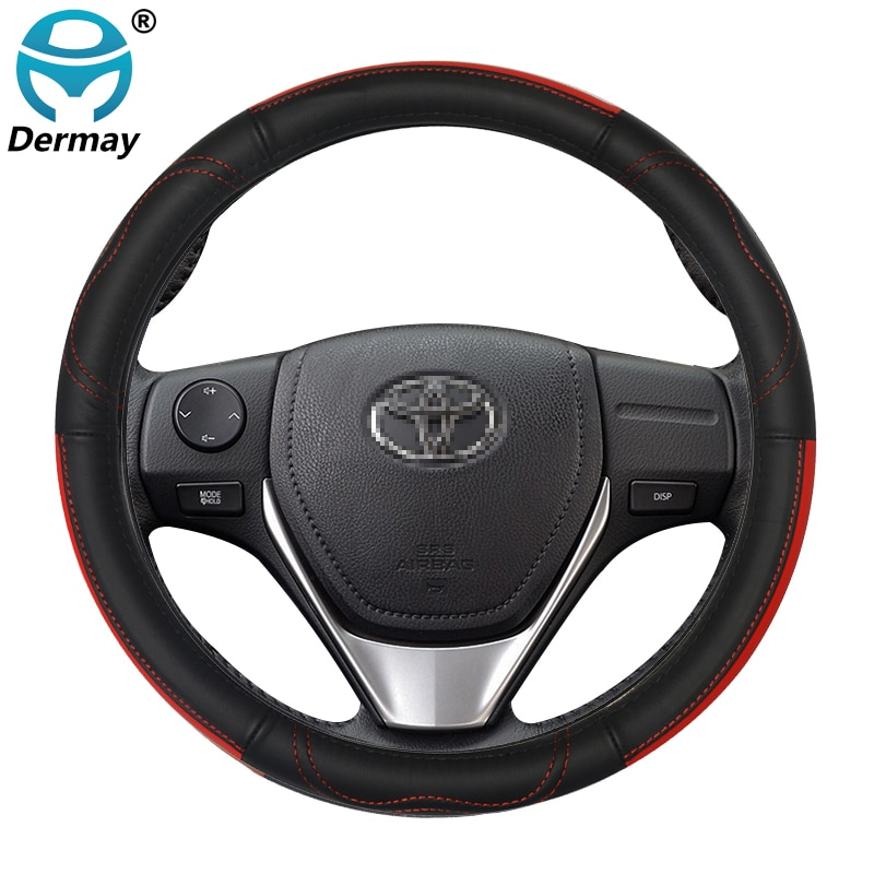 DERMAY Genuine Leather Car Steering Wheel Cover for Toyota Prius 20 30 Prius C Prius V Auto Accessories