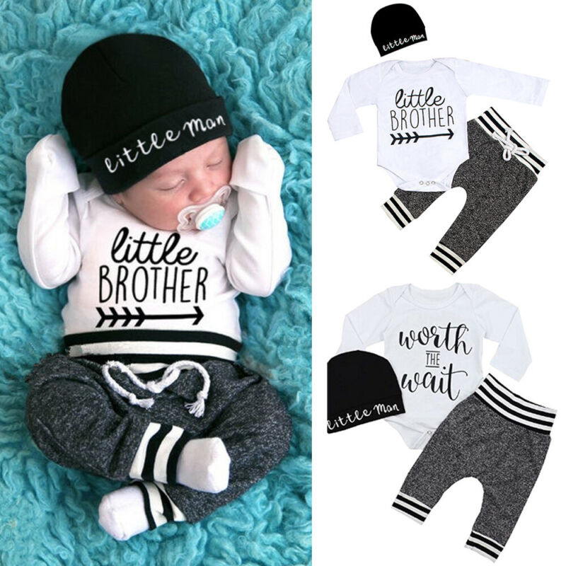 0-18Months Newborn Infant Baby Boy Clothes Cotton Sets Long Sleeve Romper Pant Hats Outfit 3Pcs Baby