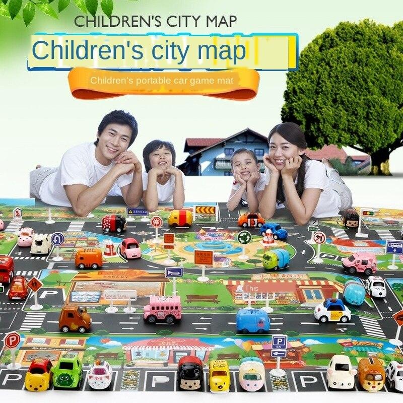 130/100CM juguete de explosión chino e inglés estera de juego para niños señal de tráfico coche modelo estacionamiento mapa Accesorios