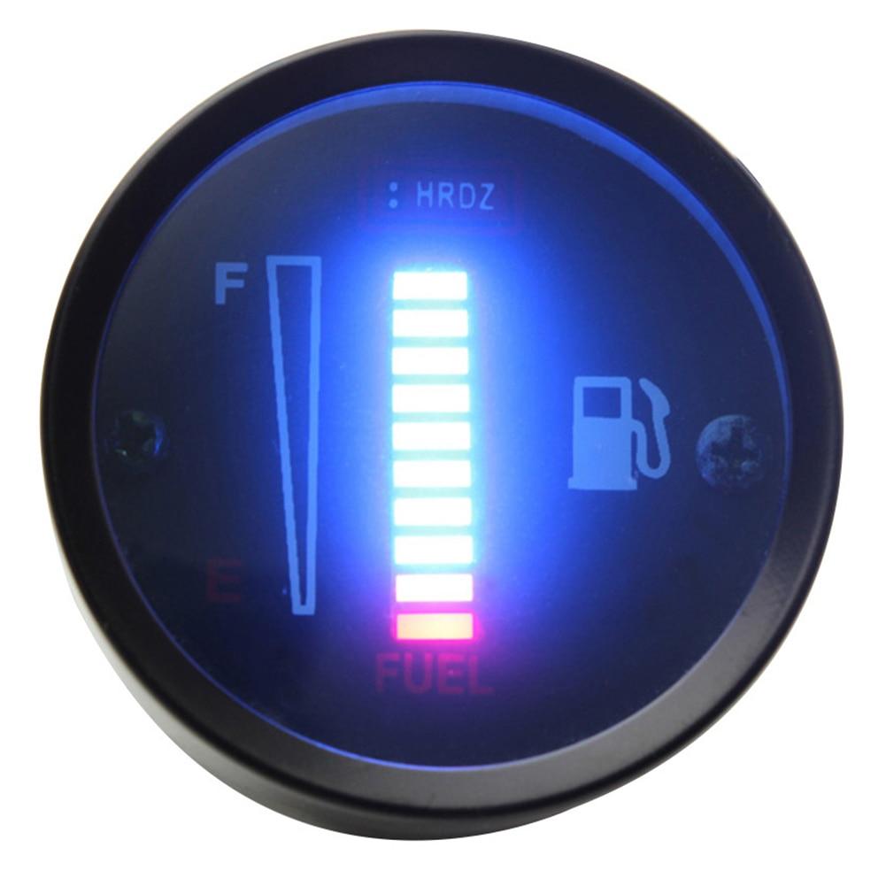 Indicador de combustible ligero de 12V CC 52mm pantalla LED Sensor de nivel libre Sensor de tanque modificado Universal para motocicleta de coche