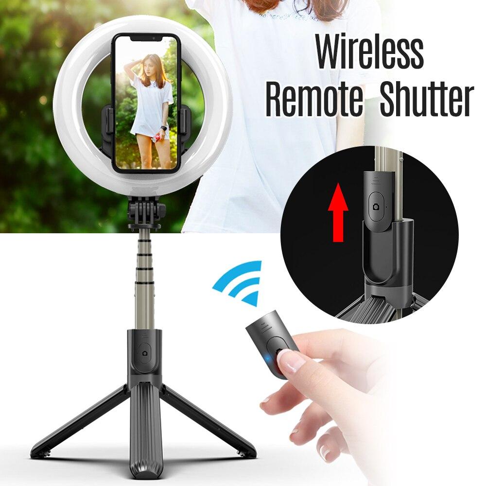 6 Polegada mini smartphone selfie anel luz led beleza luz 3 modos de iluminação pode ser escurecido com tripé selfie vara lâmpada do obturador remoto