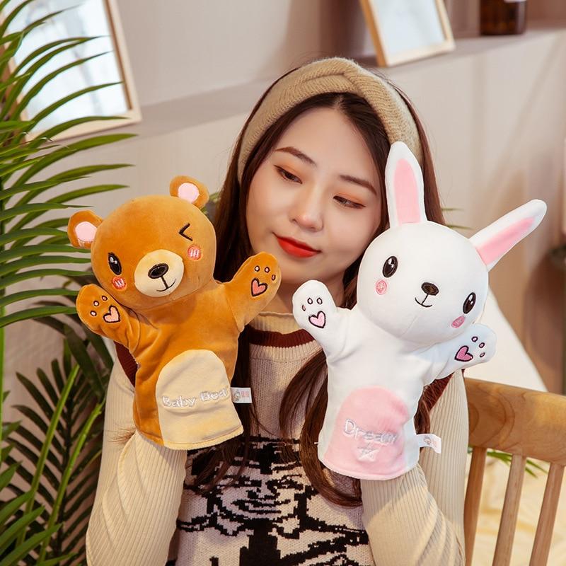 Animales de peluche marionetas de mano niños bebé juguete suave bonito conejo gato Tigre historia de imitación jugando muñecas regalo para niños