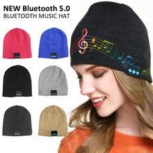 2019 invierno nuevo auricular Bluetooth sombrero de música 5,0 gorra con auriculares inalámbricos 6 colores suave tejido de música para correr