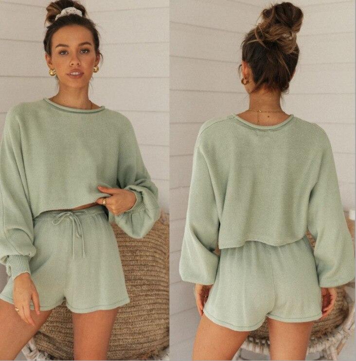 2020 estilo casa lanterna manga camisola de malha tether shorts duas peças conjunto feminino agasalho verde manga longa camisa feminina