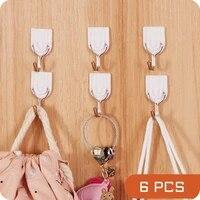 6pcs kitchen plastic hook strong stick hook kitchen bathroom creative hook hook ceramic tile glass stick hook holder