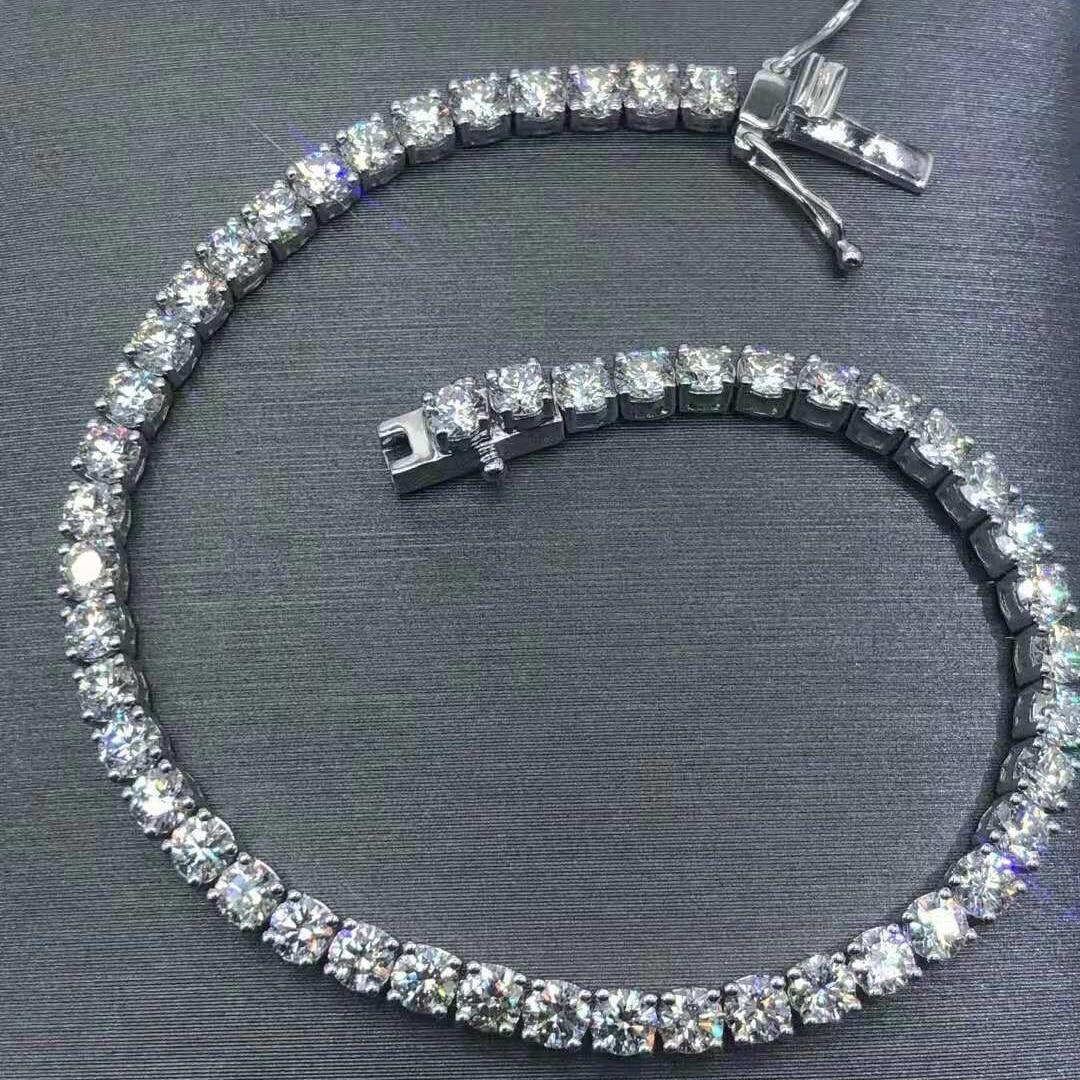 P&Y 925 Silver 3mm GRA Certificated Moissanite Diamond Tennis Bracelet