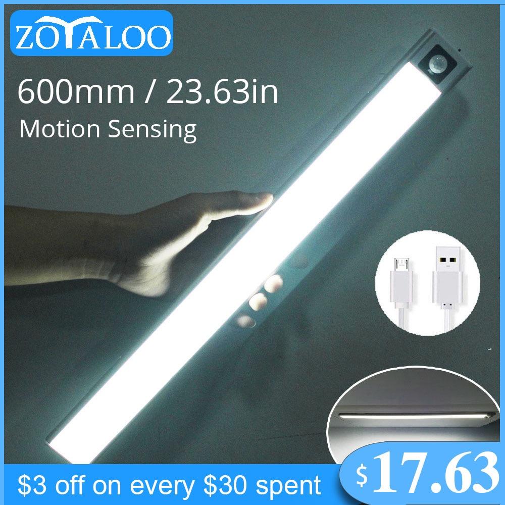 AliExpress - Zoyaloo Ultra Thin 20/40/60cm LED Rechargeable PIR Motion Sensor Closet Wardrobe Lamp Under Cabinet Aluminum Lamp Night Light