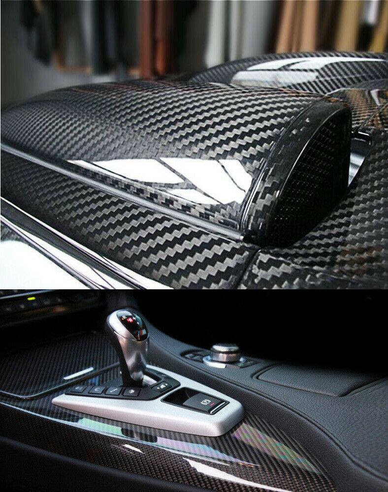 Fibra De Carbono prémium Para coche, Vinilo Para automóviles, Negro, 1X5 pies,...