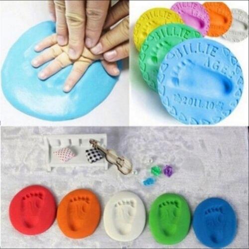 Huella de bebé AA, estéreo ultraligero, cuidado del bebé, secado por aire, arcilla suave, Kit de impresión de pie de mano, Juguetes DIY de fundición, huella de pata