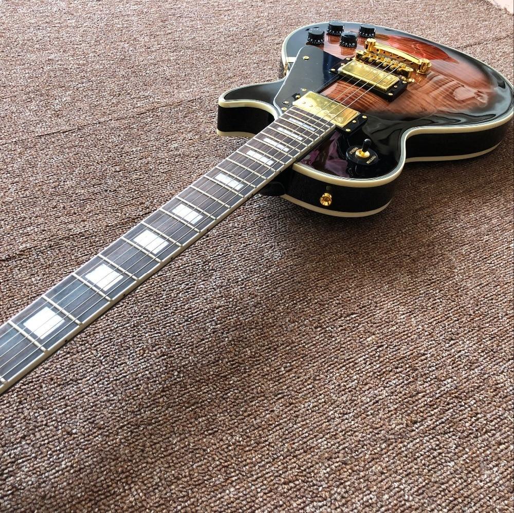 Tiger Flame standard custom electric guitar,black pickguard,Sunburst color gitaar,Mahogany body.musical instruments guitarra. enlarge