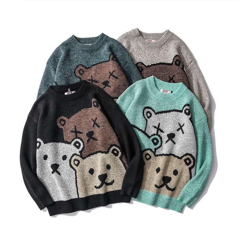 Мужские зимние свитера CCZXLY, вязаные свитера, парные пуловеры с мультяшным медведем, свитера