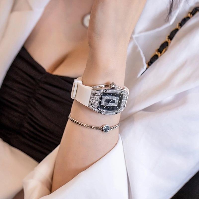 2021 New Brand Fashion Ladies Wine Barrel AAA Watch Diamond Top Luxury Brand Ladies Casual Ladies Bracelet Crystal Watch enlarge