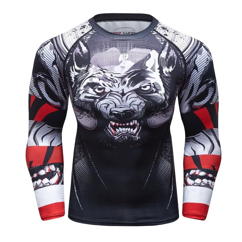 UFC BJJ MMA camiseta de compresión Rashguard para hombre, ejercicio de lobo malvado, estampado 3D, entrenamiento, mallas de Fitness, ajuste cruzado, protector de erupción