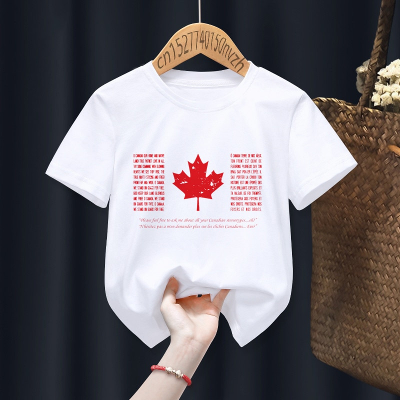 Canada Funny Boy Girl T-shirts Kid Children Anime Gift Present Little Baby Harajuku Clothes,Drop Shi