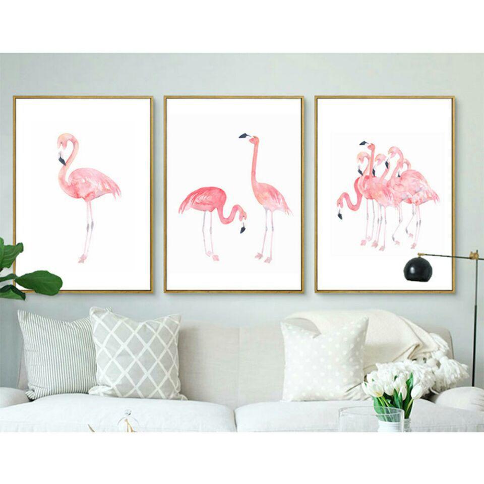 Cuadro decorativo de flamenco rosa, cuadros de pared para pasillo, dormitorio, decoración de jardín, sala de estar, pósteres e impresiones de arte en lienzo