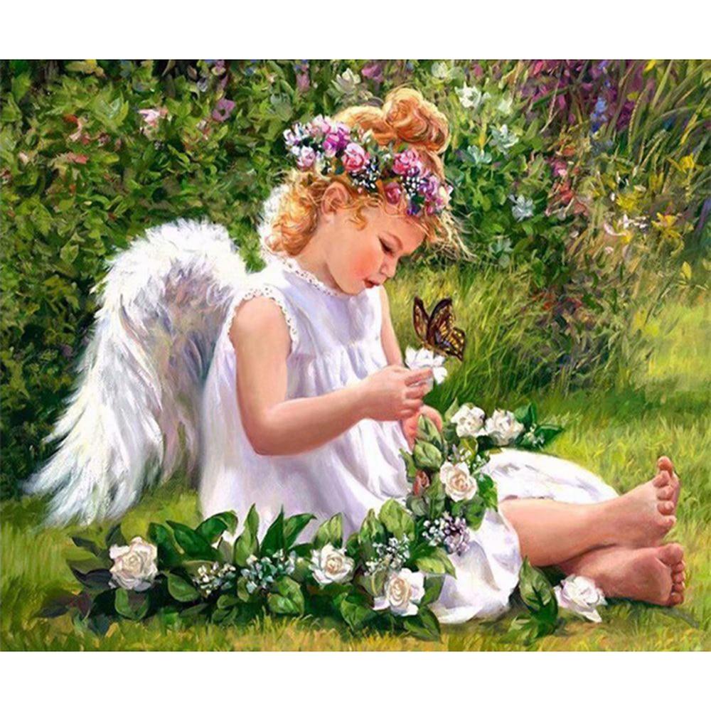 Completo cuadrado/redondo taladro DIY diamante pintura punto de cruz flores Ángel niña diamantes bordado mosaico Diamante de imitación decoración para el hogar