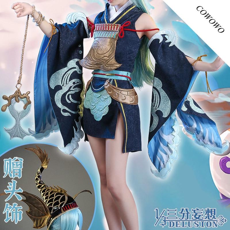 Anime! Onmyoji sp LingHai poisson rouge jeu Costume JP Kimono belle uniforme Cosplay Costume Halloween tenue 2020 nouveau livraison gratuite