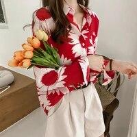womens retro hong kong style printed blouse spring and summer korean loose large size design shirt women long sleeves