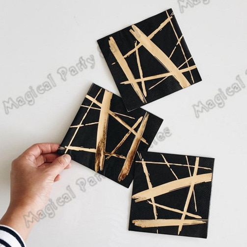 200 adet siyah ve altın parti kağıt kokteyl peçete Gatsby parti Supplieslies siyah ve altın parti sofra folyo altın