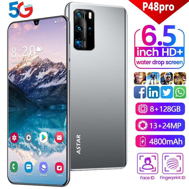 Teléfono Inteligente P48 Pro de 6,5 pulgadas, pantalla de gotas de agua, cámara Quad de 37,0mp, batería de 4800mAh, 855, 8 Core, versión global NFC, triple ranura para Android