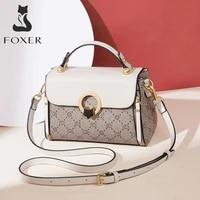 foxer vintage monogram womens bag pvc leather totes retro fashion female handbag casual ladies travel shoulder cross body bag