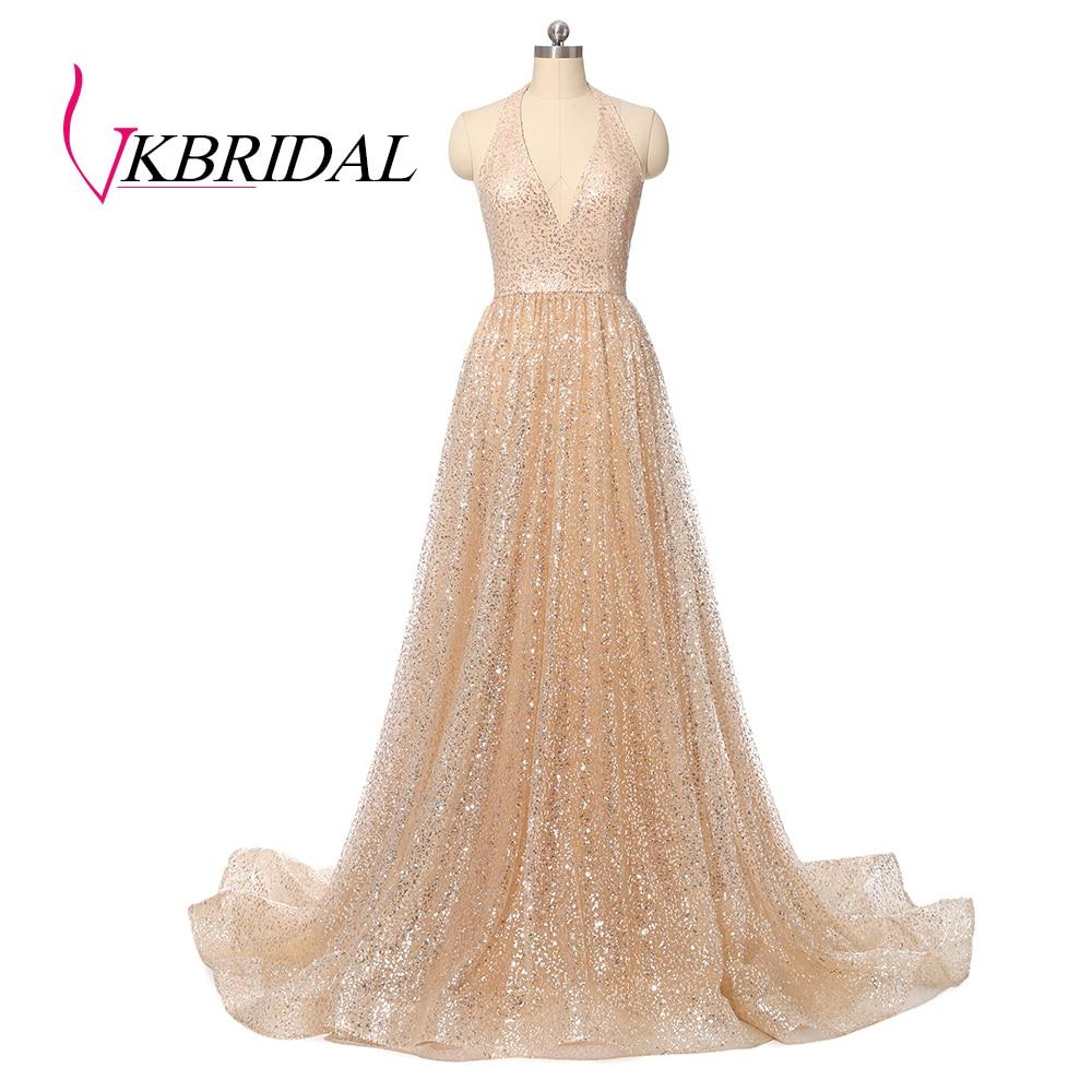VKBRIDAL Halter Sexy vestidos de baile de 2019 nuevos lentejuela brillante Formal vestido de fiesta oro vestidos de gala
