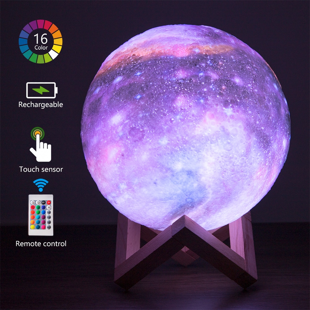 3d Led Galaxy Moon Wall Table Lamp Night Lights Indoor Lighting Cute Room Decor bedside lamp for bed