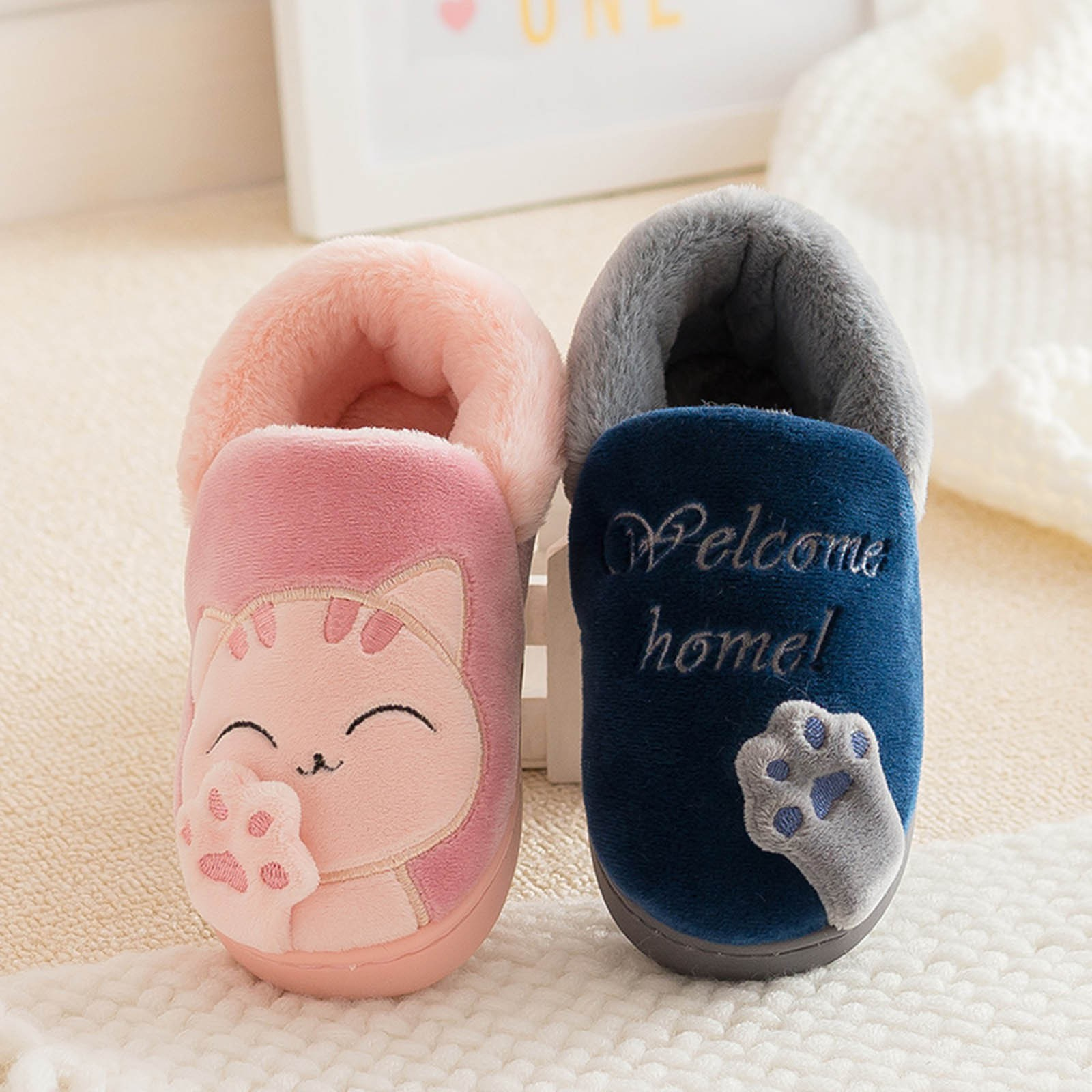Kids Baby Boys Girls Winter Slippers Cartoon Cat Non-slip Home Indoors Shoes Cotton Warm Soft Sole P